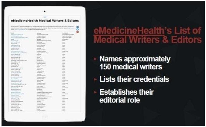 emedicine health list of expert medical writers