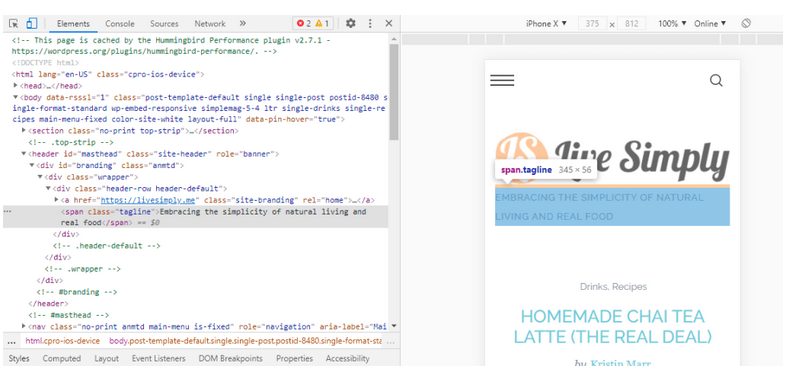 The Elements tab of DevTools wit the span.tagline element highlighted, showing the element on the page to the right
