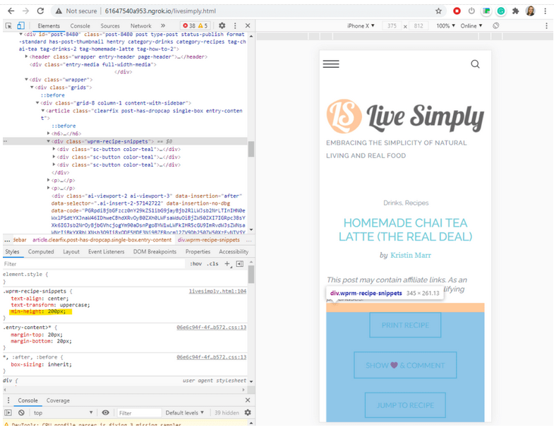 Elements tab of DevTools showing the styles for .wprm-recipe-snippets now includes min-height: 200px
