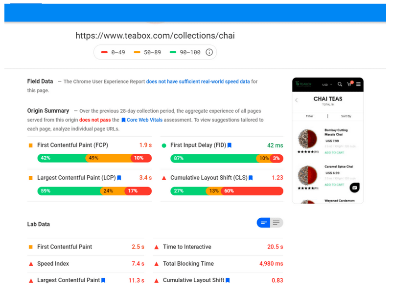 Page Speed Insights report for a product category page with a cumulative layout score of 0.83