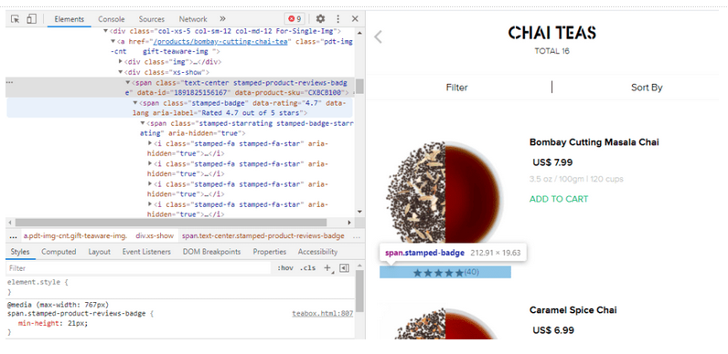 Elements tab of DevTools showing a min-height: 23px CSS declaration on the span.stamped-product-reviews-badge element