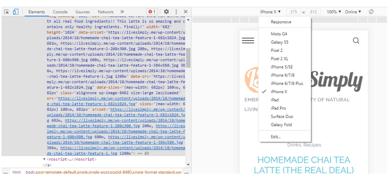 A webpage with DevTools open to the left. Mobile emulation is selected, so a drop-down of mobile devices is shown.